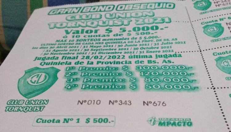 Ganadora del quinto sorteo mensual del gran bono obsequio del Club Unión