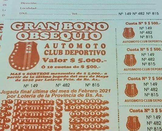 Tercer sorteo del Bono Obsequio 2020 del Automoto Club Deportivo