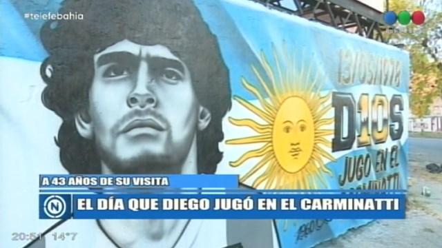 """A 43 años de la visita de Maradona a Bahía: Hinchas de Olimpo, de la mano de """"Manu"""" Abarzua, hicieron un mural en Colón y Chile"""